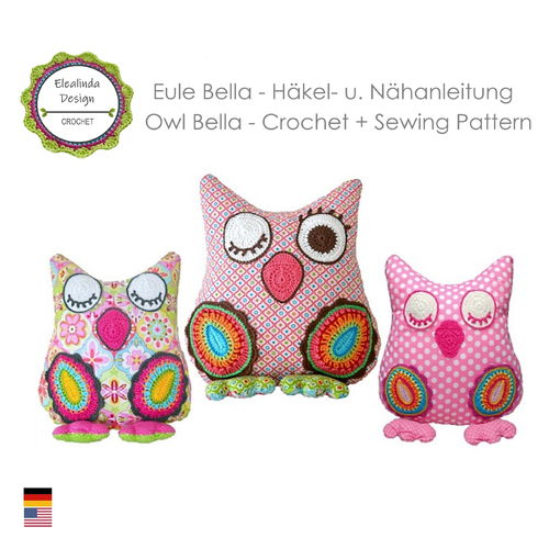 Owl BELLA crochet tutorial + sewing instructions ENGLISH (US terms) - Cushion Pillow decorative
