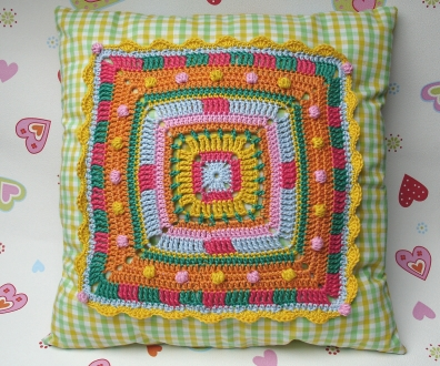 Cushion Big Granny Square Crochet And Sewing Pattern