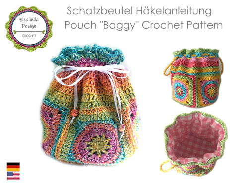 Crocheted Granny Square pouch crochet and sewing pattern, photo tutorial PDF