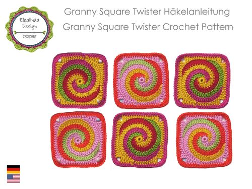 Granny Square Twister spiral - crochet pattern, photo-tutorial