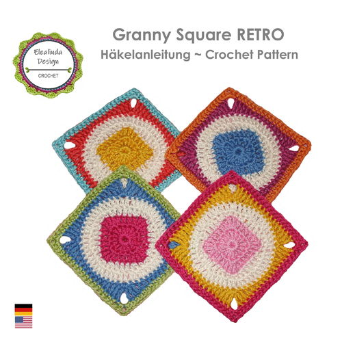 Granny Square RETRO 1 - crochet pattern, photo-tutorial PDF