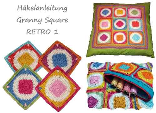 Granny Square RETRO 1 - crochet pattern, photo-tutorial