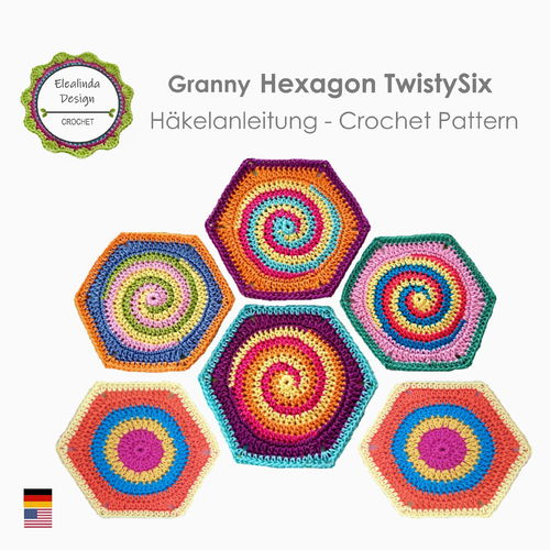 Granny Square Hexagon TwistySix Spiral - Crochet pattern, photo tutorial