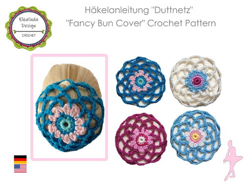 Crochet Pattern Bun Cover Bunnet Hairnet  PDF (Us crochet terms)