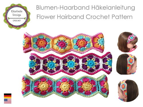 Flower Power Headband JANA ~ PDF crochet pattern, photo tutorial