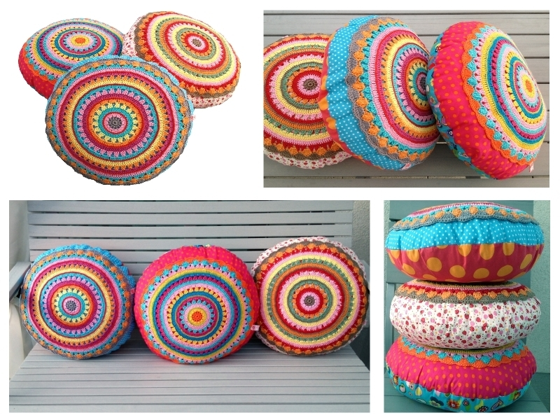 Round Pillow Sunrise Cushion With Crochet Application Crochet And