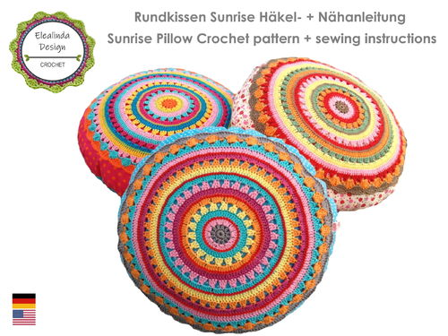 Round Pillow SUNRISE Cushion with crochet application ~ Crochet and sewing pattern PDF