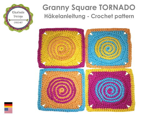 Granny Square Tornado - crochet pattern PDF photo-tutorial