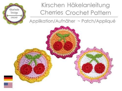 Crochet Pattern, Cherries, Cherry Patch, Appliqué, PDF (US terms)