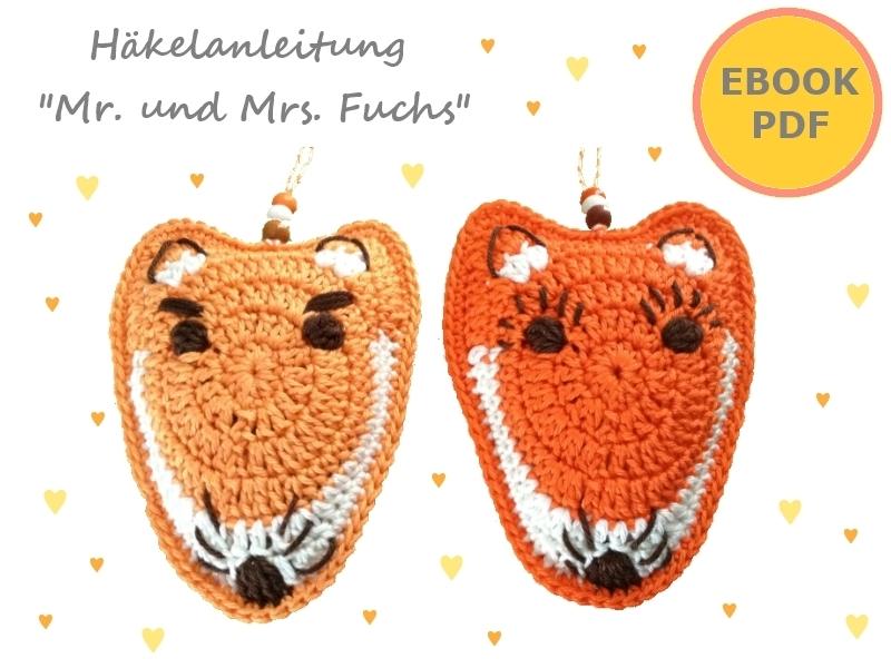 Mr. und Mrs. Fuchs ~ Anhänger, Taschenbaumler, Deko ~ Häkelanleitung PDF