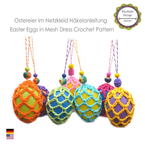 Easter Eggs in fancy mesh dress, crochet pattern, PDF, English (US terms), Easter decoration