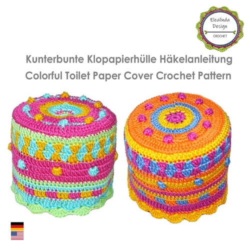 Crochet pattern colorful toilet paper cover hat for toilet roll ebook PDF file
