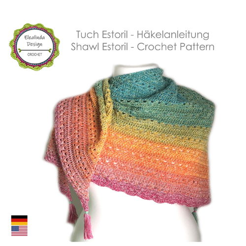 Shawl Estoril - Crochet pattern, photo-tutorial PDF