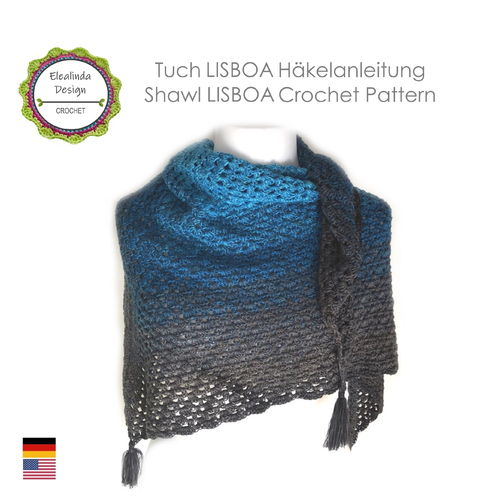 Shawl Lisboa - Crochet pattern, photo-tutorial PDF