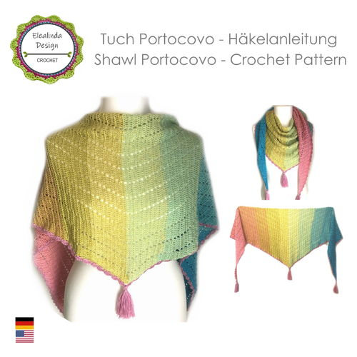 Shawl Portocovo - Crochet pattern, photo-tutorial PDF
