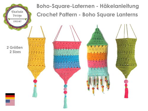 Crochet pattern Boho Square Lantern PDF US-terms