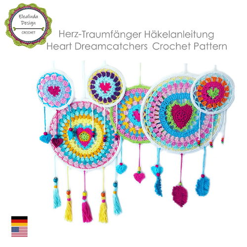 "Colorful dream catchers ""Hearts"", 2 designs, 3 sizes, Crochet pattern, PDF"