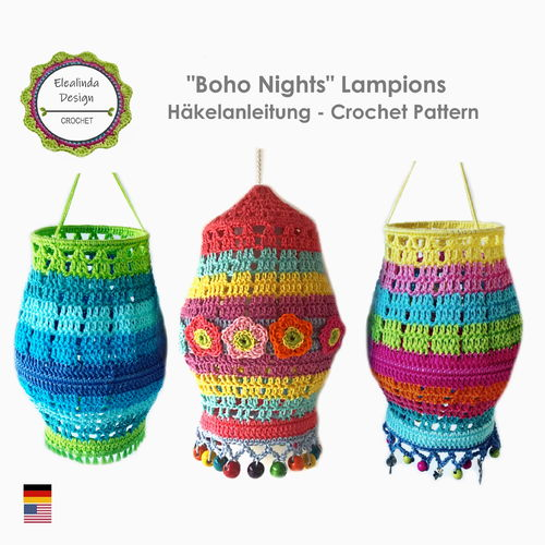 """Boho Nights Lampions"" lanterns crochet tutorial PDF"