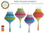 """Boho Summer Lampions"" lanterns crochet tutorial PDF German, English, Spanish"